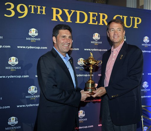 European Captain Jose Maria Olazabal and U.S Captain Davis Love III teams will compete for the Ryder Cup. (AP Photo/Jim Prisching)
