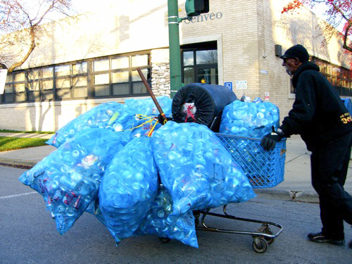 The first citywide recycling program debuted in 1995, and required residents to throw their recycling in special blue, plastic bags before throwing the bags in the trash. (Flickr/Jennifer Brandel)