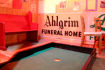 Ahlgrim Acres is the mini golf course in the basement of Ahlgrim Funeral Home (WBEZ/Logan Jaffe)