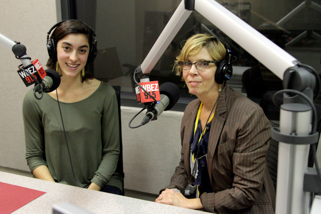 Reporter Chloe Prasinos and questioner Barbara Laing at WBEZ. (Logan Jaffe/WBEZ)
