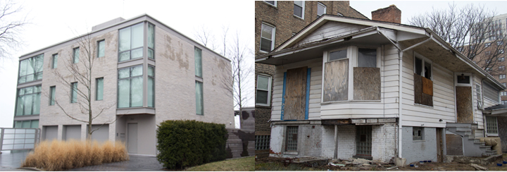 These two South Shore homes exist within the span of one block. (WBEZ/Logan Jaffe)