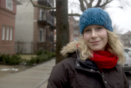 Curious citizen Marya Lucas on location for our story in South Shore. (WBEZ/Logan Jaffe)