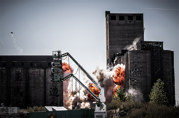 "Filming an explosion for ""Transformers 4."" (Flickr/Spencer Hughes)"