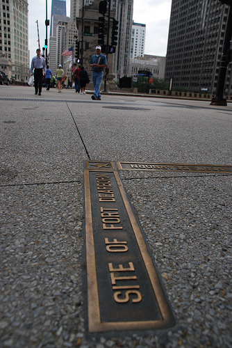 The site of Fort Dearborn is now Wacker Dr. and Michigan Ave. (Flickr/Michael Kappel)