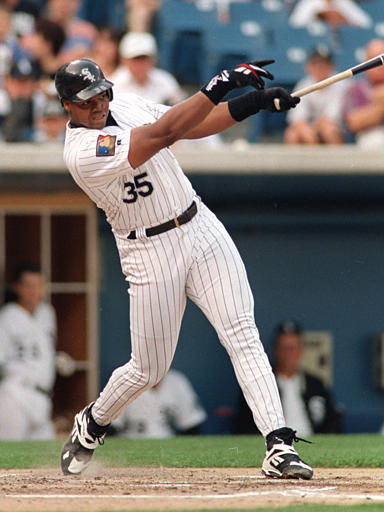 Former White Sox slugger Frank Thomas thinks the team should open a baseball academy on Chicago's West Side. (AP/John Swart)