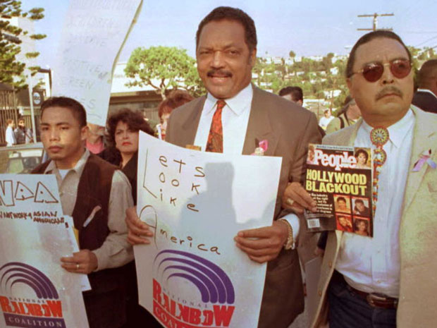 Jesse Jackson and members of the Rainbow Coalition protested the 68th Annual Academy Awards in 1996 for not producing more motion pictures with minorities. (Frederick Brown/AFP/Getty Images)