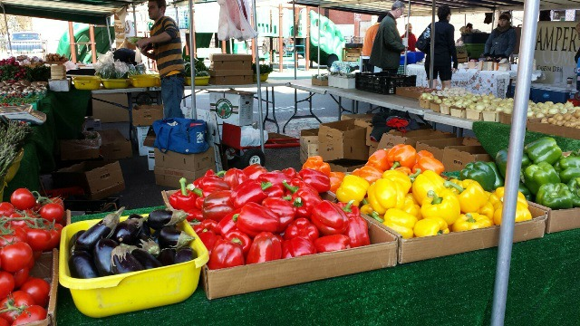 An early May French Market in Lakeview featured bounty normally associated with late summer. But French Market managers say that their markets are about more than local produce.  (WBEZ/Monica Eng)