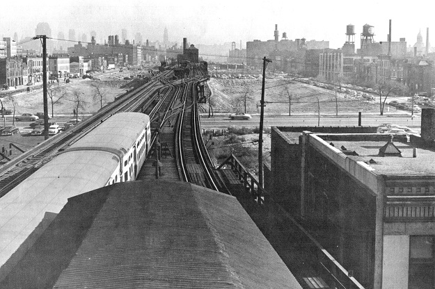 Garfield Park 'L' at Ashland during land clearance, 1953 (CTA photo)
