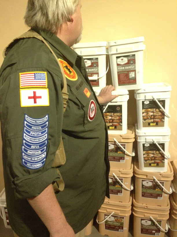 George's gunshop sells short-term emergency kits like these to preppers. (Aurora Aguilar)