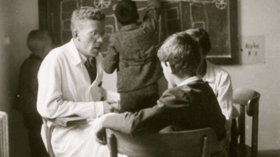 Hans Asperger and children at the University of Vienna, 1930s. (Courtesy of Dr. Maria Asperger Felder)