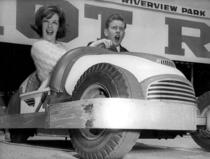 Hot rods at Riverview, circa 1963. (Public Domain)