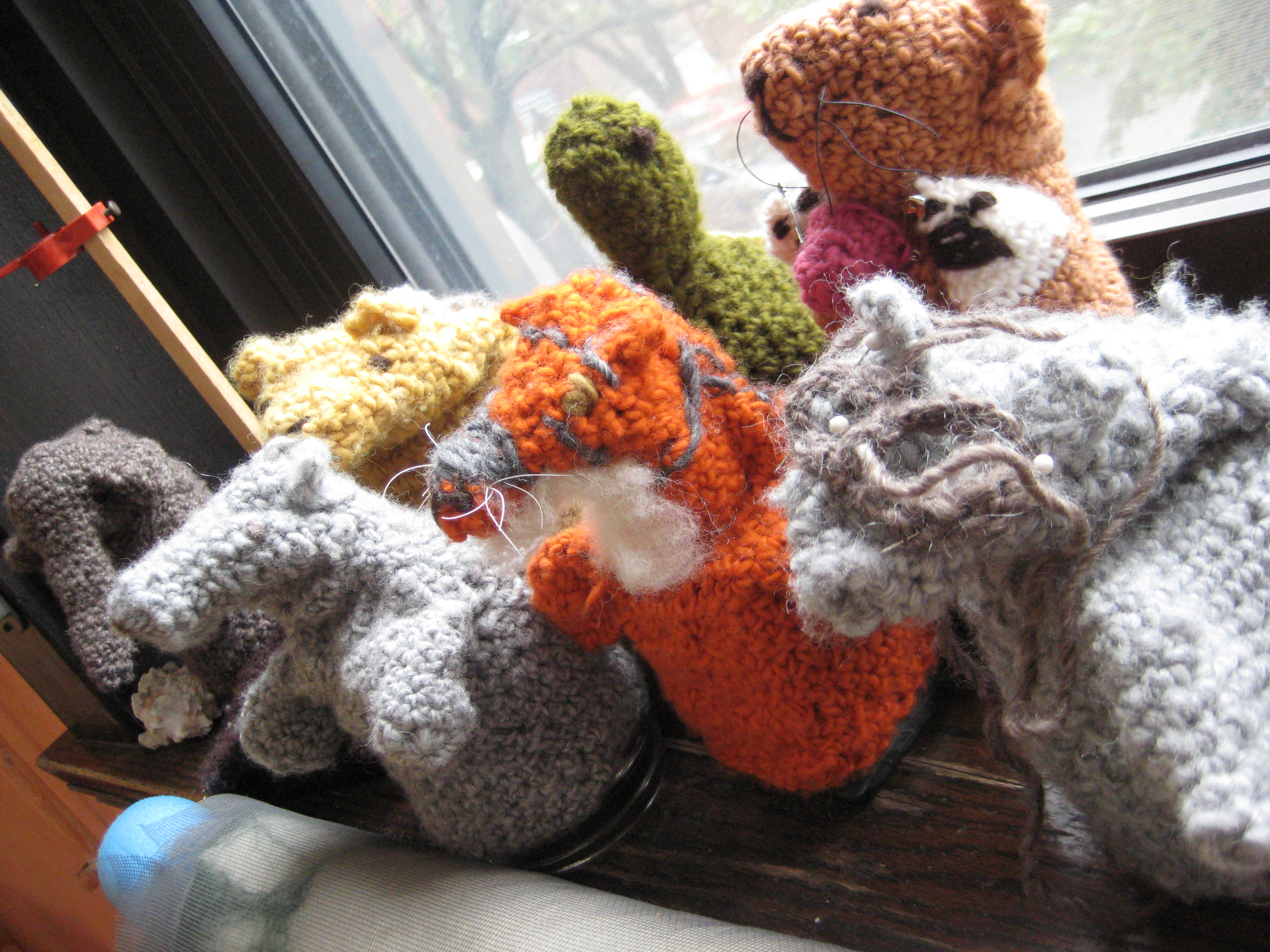 Puppets crocheted by third graders at the Chicago Waldorf School.(Linda Lutton/Front and Center)