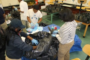 North Lawndale College Prep students conduct a waste audit.