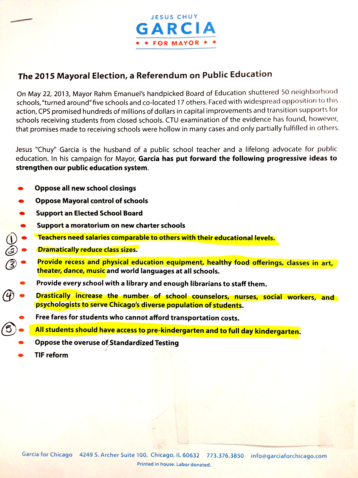 Garcia's Education platform (Click to enlarge)