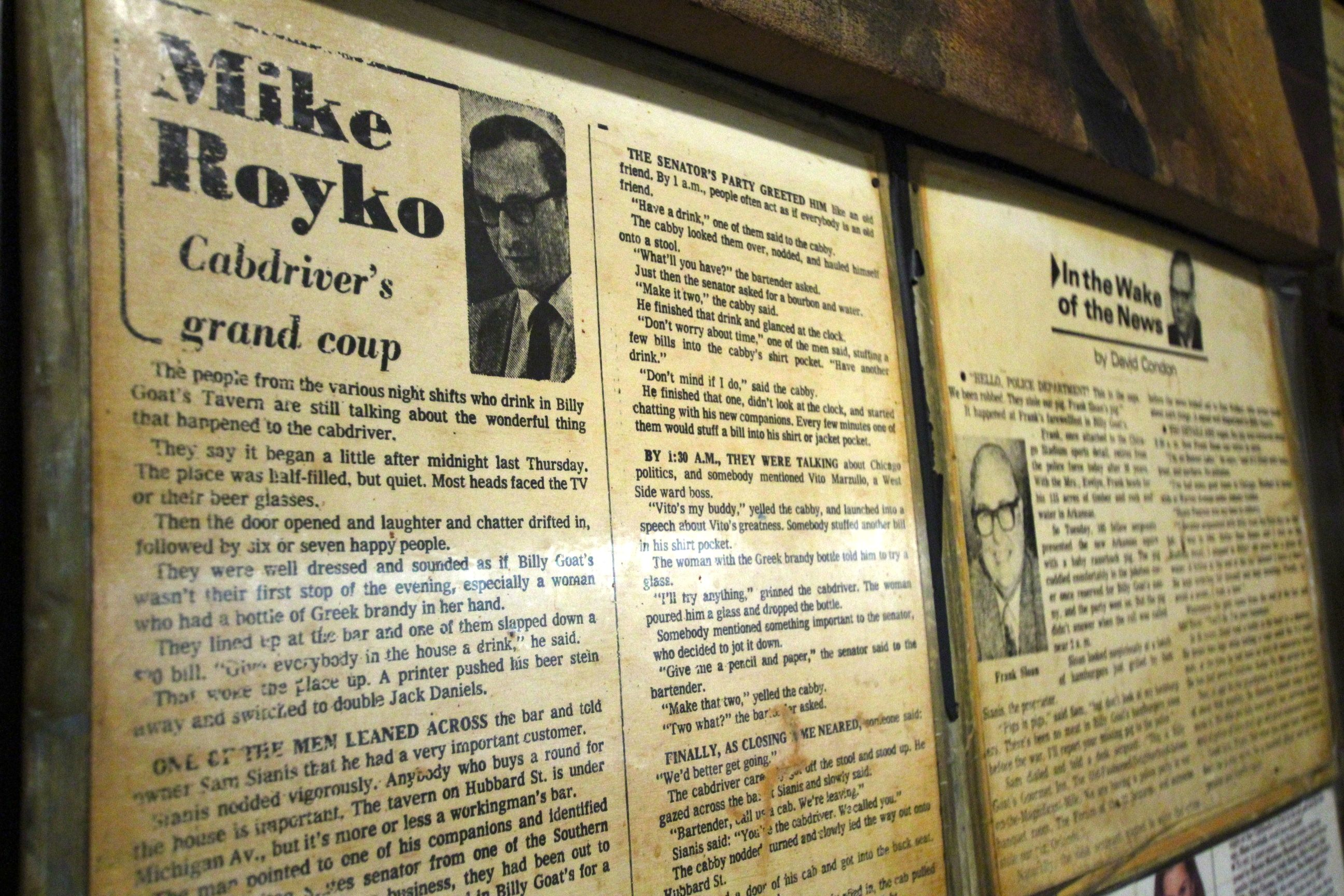 A column by Pulitzer Prize winner Mike Royko is one of many press clips that hangs in the Billy Goat. Royko called the tavern his favorite. (Photo by Robin Amer)