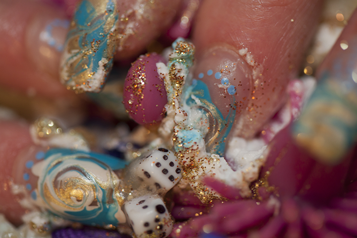 """Junk with marble and gold glitter"""