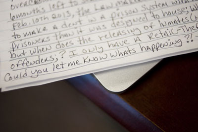 A letter from an inmate at Vienna begs John Howard staff for clarity. (WBEZ/Bill Healy)
