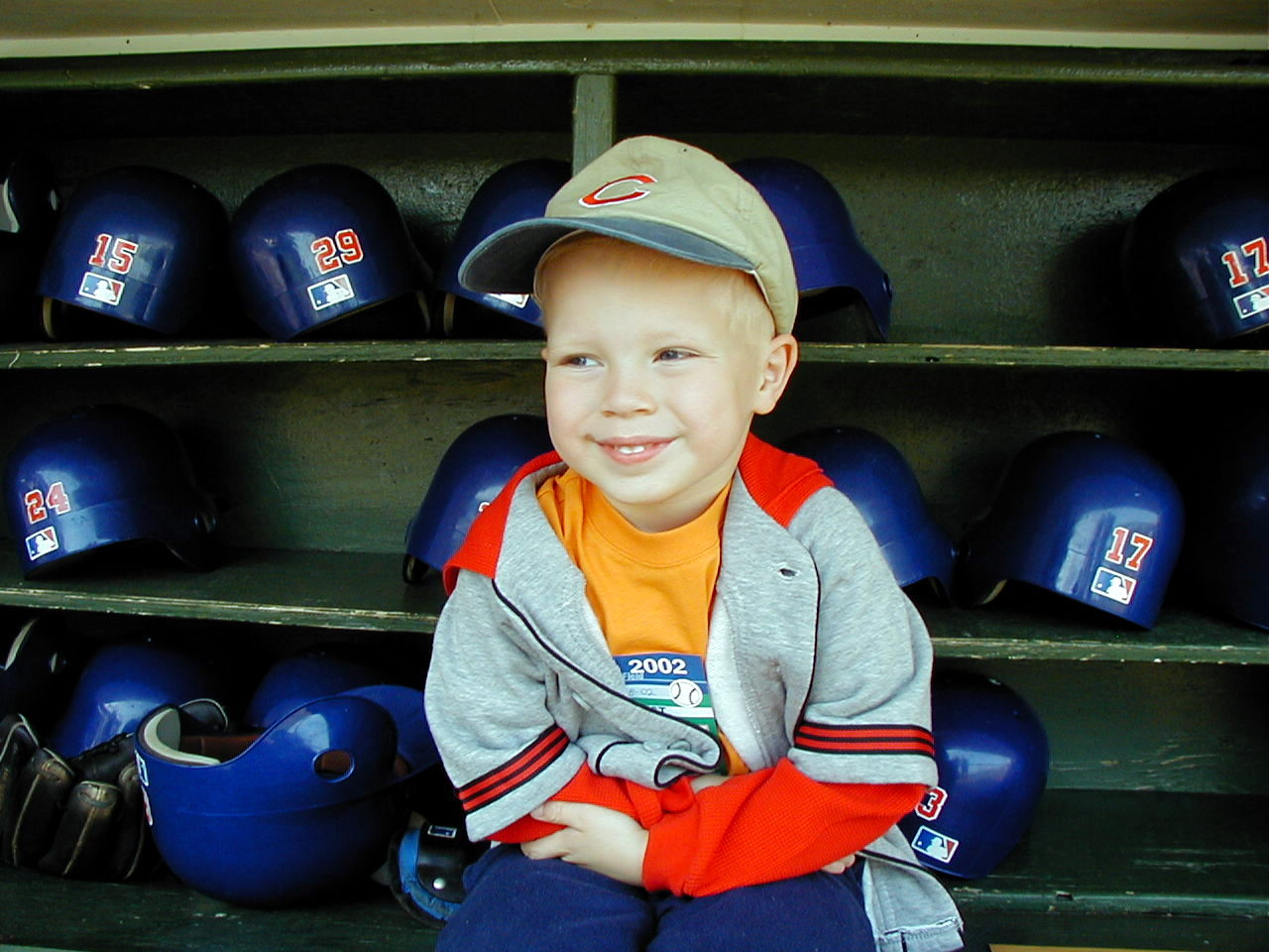 Cheryl Raye Stout's son, Jaxon, in the Cubs dugout in 2002. (Photo by Glenn Stout)