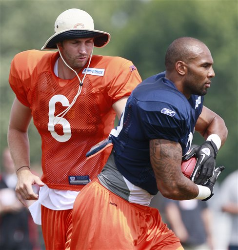 Jay Cutler and Matt Forte look to rebound from season ending injuries in 2011. (AP/Photo Nam Huh)