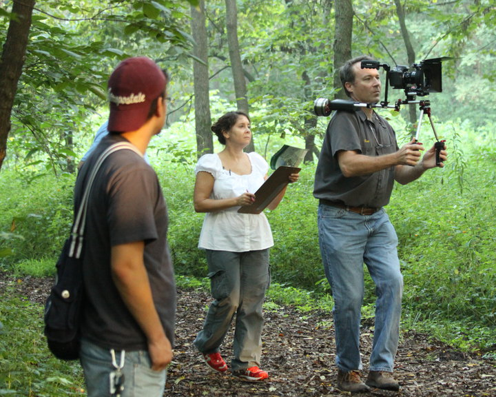 Carey Lundin (middle) on location shooting the documentary Jens Jensen The Living Green. (Photo provided by Carey Lundin)
