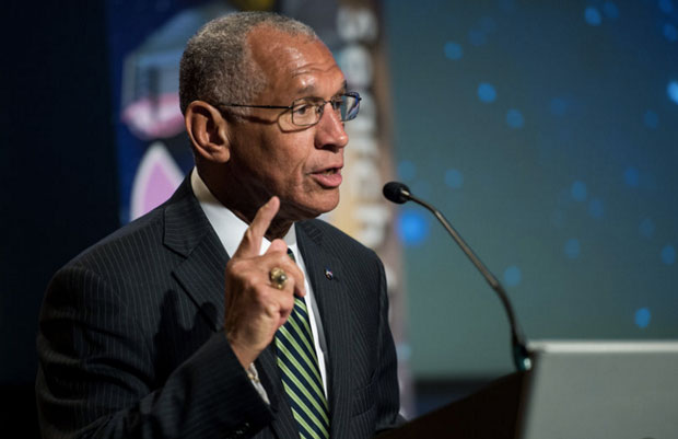 NASA Administrator Charles Bolden speaks at a panel discussion on the search for life beyond Earth at NASA headquarters in 2014. (Joel Kowsky/NASA)