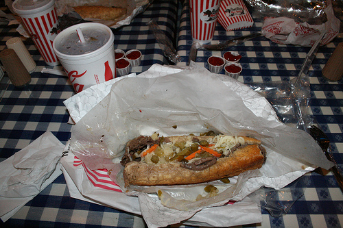 A Portillo's Italian Beef sandwich, a Chicago food staple featured in 'Chicago Stories' (Flickr/Joel Washing)
