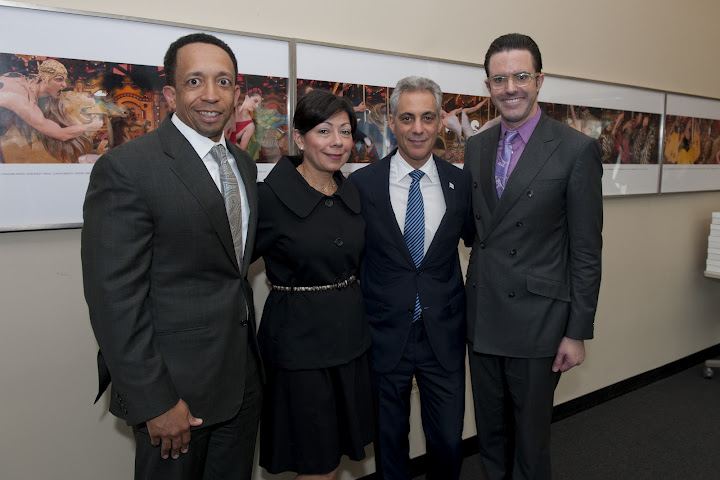 Joffrey Ballet Board Chair Jason Tyler, wife Yolanda, Mayor Rahm Emanuel, and Joffrey Exec Director Christopher Clinton Conway. (Photo by Robert Carl)