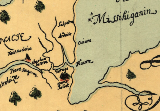 A close-up view of the spot on Joliet's map that would become Chicago. Note the spelling of Lake 'Misshiganin'! (Library of Congress)