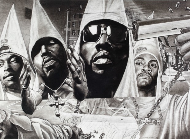 "Since 2000, James Pate has been depicting gang members in Ku Klux Klan robes, out of ""frustration"" with ongoing gun violence. (Photo Andy Snow, courtesy EbonNia Gallery)"