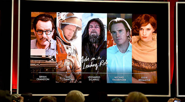 The nominees for best actor as seen on screen at the Academy Awards nominations announcement. All the nominees this year are white men. (Kevin Winter/Getty Images)