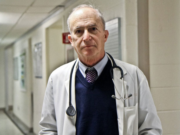 Kidney specialist Steven Peitzman, a professor at Drexel University College of Medicine, says physicians who are now in their 60s and 70s used to get praise if they had the 'ear' to hear and interpret subtle sounds through a stethoscope. (Kim Paynter/WHYY)