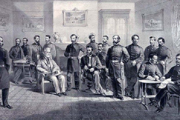 Lee surrenders to Grant at Appomattox Court House. (Author's collection)