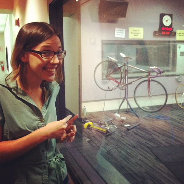 My bike makes its public radio debut with an on-air tune-up to help promote bike-to-work week. I wait in the green room.