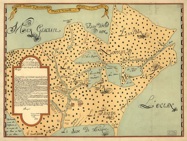 Louis Joliet's map of North America, roughly titled, 'New discoveries of the several nations in New France in the years 1673 and 1674' (Library of Congress)