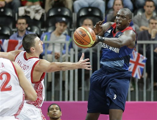 Luol Deng playing for Great Britain against Russia in the 2012 Summer Olympics. (AP/Eric Gay)