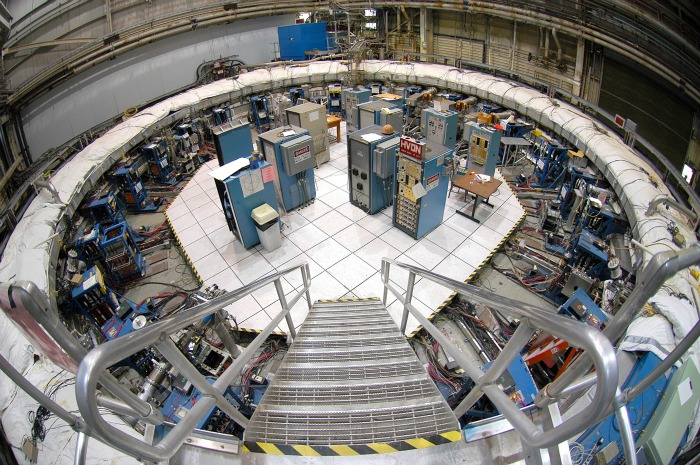 The muon ring at Brookhaven National Laboratories. The 50-foot ring will be removed from its casings and separated from many attachments, but cannot be dismantled for transport to Fermilab. (Brookhaven National Laboratory)