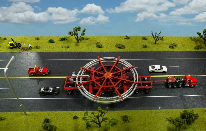 A model of the special cart that will transport the muon ring. The ring is taking a 3,200-mile trip from Long Island to Chicago's Fermilab in summer of 2013. (Fermilab)