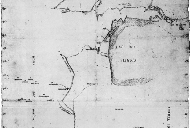 A cropped view of Marquette's 'Autograph map of the Mississippi or Conception River, 1673' (Wisconsin Historical Society)