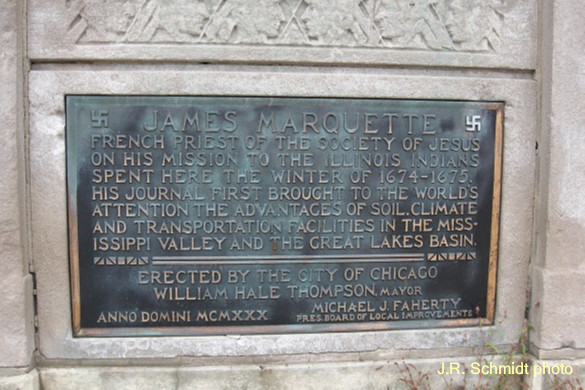 Plaque on the Marquette Monument