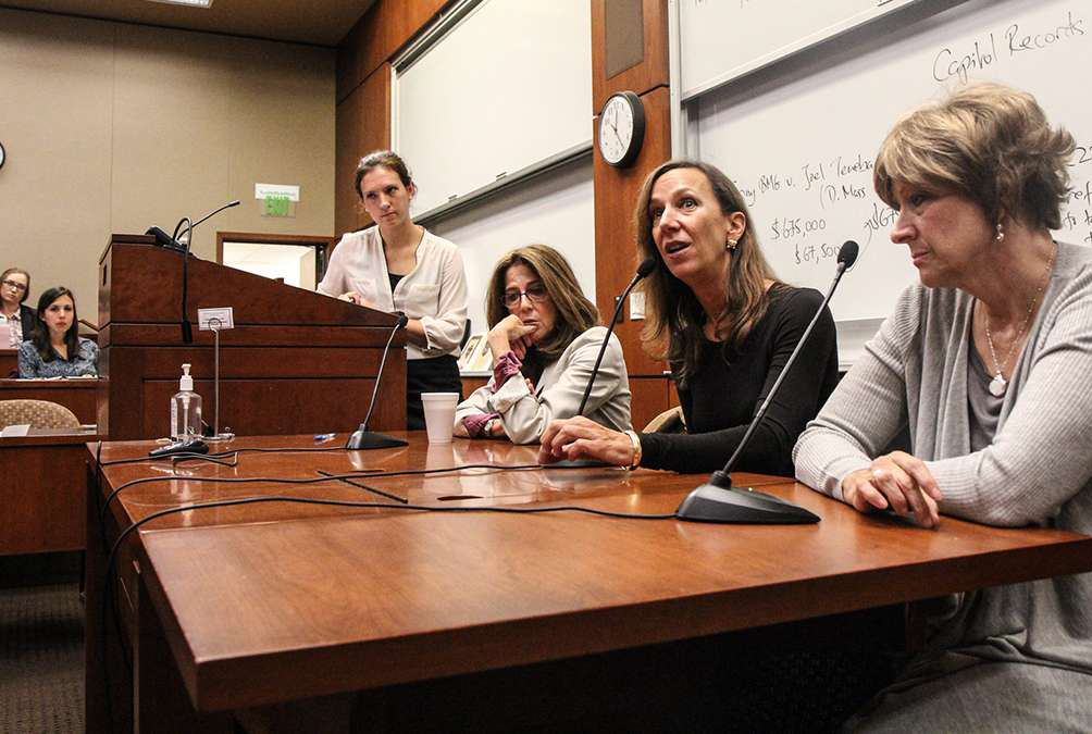 Marsha Levick (third from right) the co-founder of the Juvenile Law Center sits on a panel. (Kimberly Paynter/WHYY)