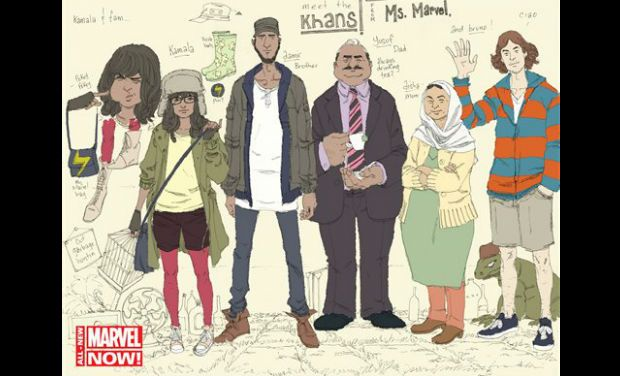 The image released by Marvel Comics shows character Kamala Khan, second left, with her family Aamir, father Yusuf, mother Disha and friend Bruno, from the