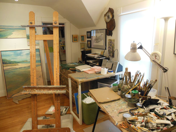 Mary Andersen does most of her painting in her home in Grand Rapids, but she also spends hours at the lakeshore observing.  (Lindsey Smith/Michigan Radio)