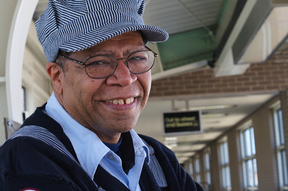 Michael Powell, a CTA conductor for 36 years, was known by commuters for his cheerful quips. (Photo courtesy Katie Klocksin)