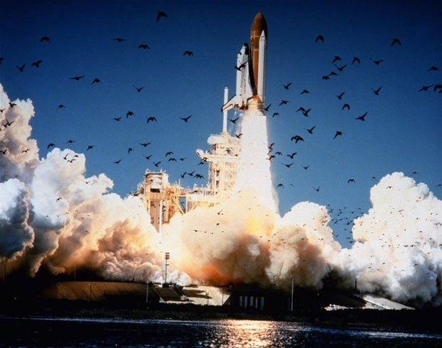 The space shuttle Challenger lifts off from Kennedy Space Center in Florida on Jan. 28, 1986. The entire crew of seven was lost in an explosion 73 seconds into the launch. (NASA/AP)