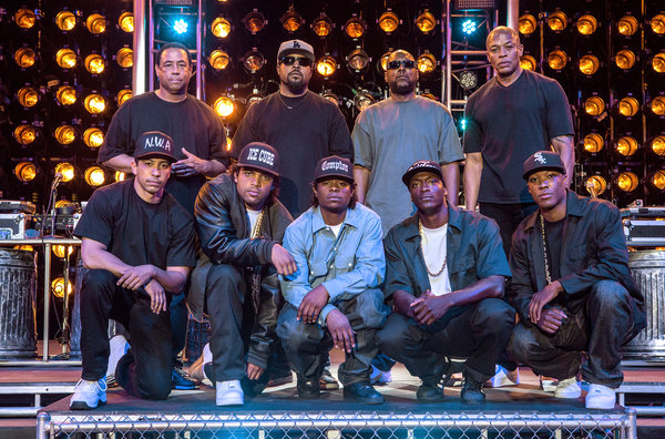 N.W.A real and fictional: Top row: DJ Yella, Ice Cube, MC Ren, Dr. Dre; bottom: Neil Brown Jr., O'Shea Jackson Jr., Jason Mitchell, Aldis Hodge and Corey Hawkins. (Jaimie Trueblood/Universal Picures)
