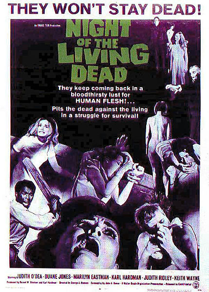 """Poster from original 1968 movie """"Night of the Living Dead."""" Due to the filmmakers' neglect of the former requirement to put proper notice on copies of their work, this image and the film it's from are in the public domain. (WikiMedia Commons)"""