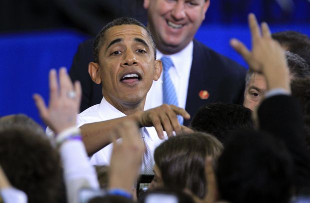 President Barack Obama greets supporters in Ann Arbor, Mich., in January. (AP/Carlos Osorio)