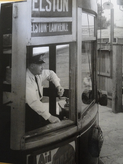 Motorman Nick Alver swings his controller handle as he guides a streetcar into the Elston carbarn at Elston and Addison in 1942. (Courtesy of the book Chicago: City on the Move)