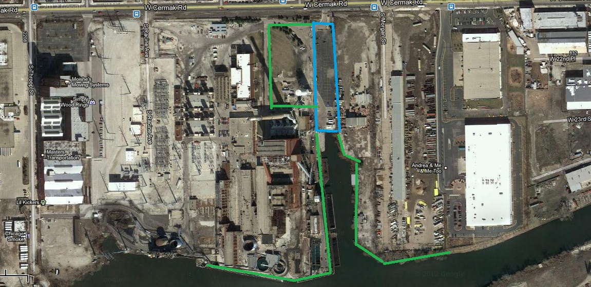 PERRO's original plan for a riverwalk emanating out from a small park on the Fisk site. (PERRO)