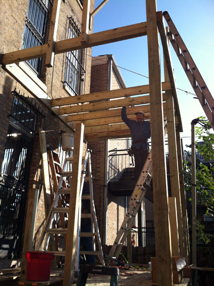 After the tragic porch collapse in 2003 and the city strengthened the building code, most porches in Chicago needed improvements or total rebuilds to get up to code. (WBEZ/Jennifer Brandel)